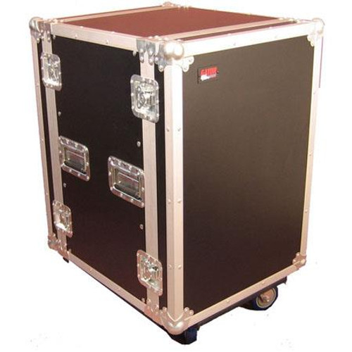 "Gator cases G-TOUR 12U CAST ATA Wood Flight Rack Case; 12U; 17"" Deep; w/ Casters, left"