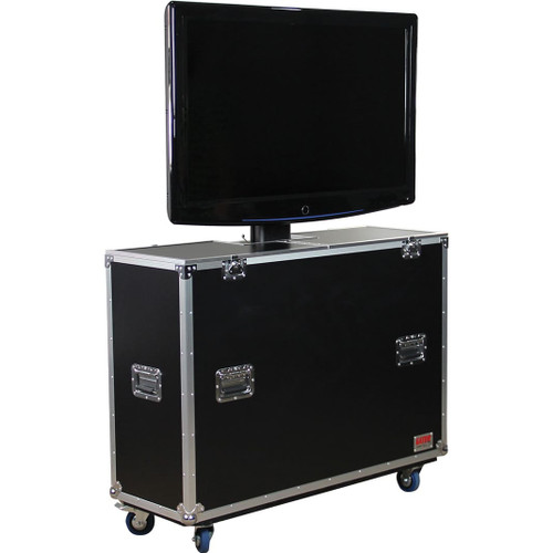 "Gator cases G-TOUR ELIFT 55 ATA Wood Flight Case w/ Electric LCD Lift & Casters; Fits LCD & Plasma Screens Up to 55"", left"