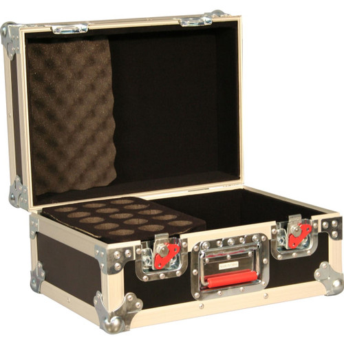 Gator Cases G-TOUR M15 ATA Wood Flight Case w/ Drops for 15 Mics; Recessed Latches; Cable Storage