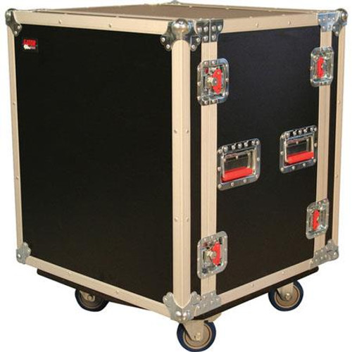 Gator cases G-TOUR SHK12 CA ATA Shock Wood Flight Rack Case; 12U; w/ Casters, left