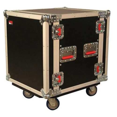 "Gator cases G-TOUR16UCA-24D ATA Wood Flight Rack Case; 16U; 24"" Deep; w/ Casters, left"
