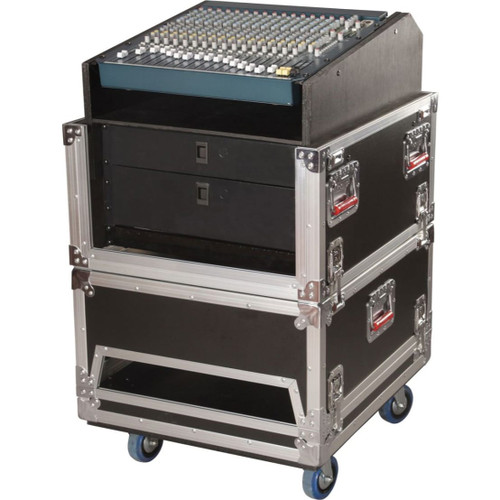Gator cases G-TOUR-GRC-1406 ATA Console Wood Flight Rack Case; 14U Top; 6U Bottom, main