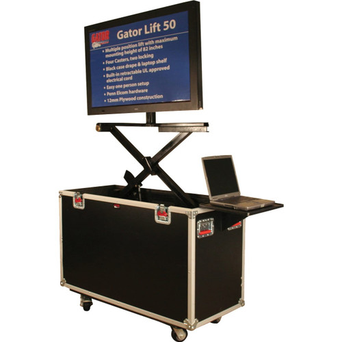 "Gator cases G-TOURLCDLIFT65 ATA Wood Flight Case w/ Hydraulic LCD Lift & Casters; Fits LCD & Plasma Screens Up to 65"", main"
