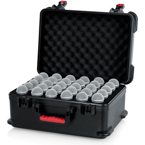 Gator cases GTSA-MIC30 TSA Series ATA Molded Polyethylene Case with Foam Drops for Up to (30) Wired Microphones, left
