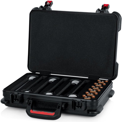 Gator cases GTSA-MICW6 TSA Series ATA Molded Polyethylene Case for Foam Drops for (6) Wireless Microphones with Battery Storage, left