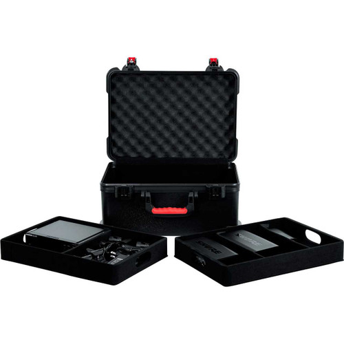 Gator cases GTSA-MICW7 TSA Series ATA Molded Polyethylene Case for (7) Wireless Microphones with (2) Lift Out Trays for Recievers, Beltpacks and Accessories, left