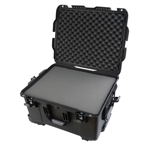 "Gator cases GU-2217-13-WPDF Black injection molded case with pullout handle, inline wheels, and interior dims 22"" x 17"" x 12.9"". DICED FOAM, main"