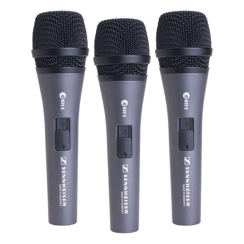 Sennheiser 3-PACK e835-S (3) e835-S microphones with MZQ800 clips and carrying pouches. 3.5 lbs., 3 microphones