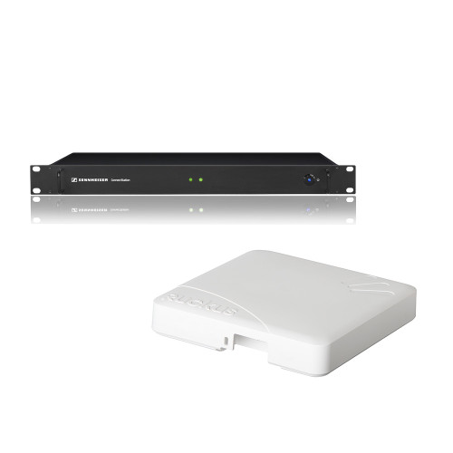Sennheiser CinemaConnect +WiFi US Comprised of a ConnectStation central unit for transmitting multi-channel audio via the provided WiFi router directly to personal mobile devices, main