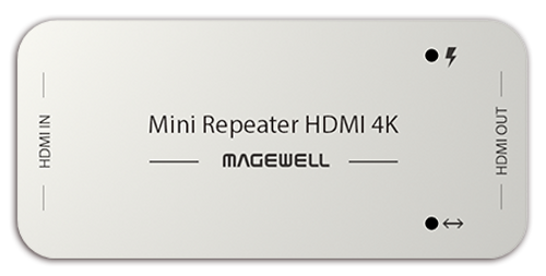 Magewell 43010 The repeater receives and equalizes an HDMI signal and outputs it to another HDMI cable.