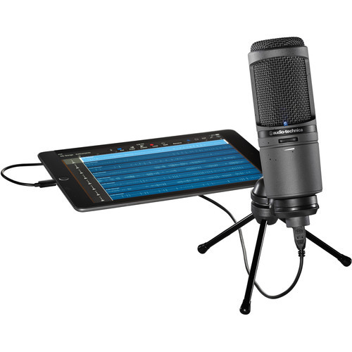 Audio-Technica AT2020USBI Cardioid Condenser microphone with digital output for convenient, high-resolution recording, features an A/D converter with a 24-bit/96 kHz sampling rate to deliver high-resolution articulation