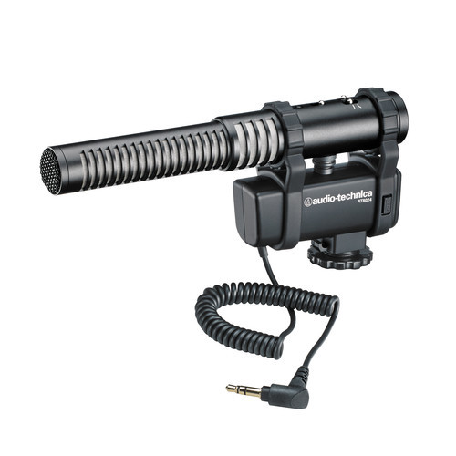 Audio-Technica AT8024 Selectable mono or mid-side stereo microphone with integrated camera shoe mount, three position input pad and red/green led power indicator.