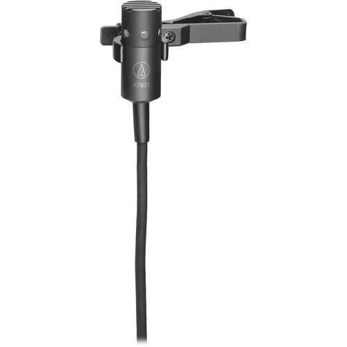 "Audio-Technica AT831CT4 AT831c cardioid condenser lavalier microphone with 55"" cable terminated with TA4F-type connector for Shure wireless"