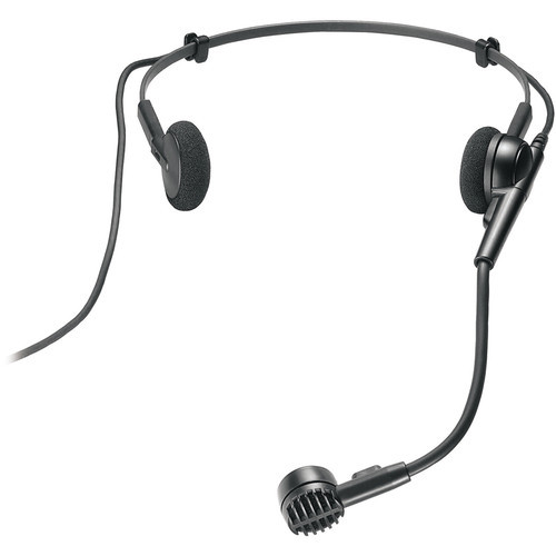 "Audio-Technica ATM75CW Cardioid condenser headworn microphone with 55"" cable terminated with locking 4-pin HRS-type connector for wireless systems using UniPak transmitters"