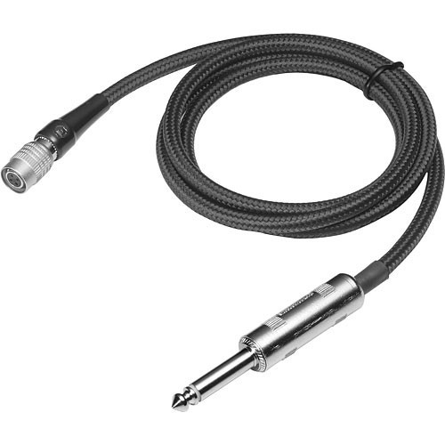 "Audio-Technica PRO Professional instrument input cable with 1/4"" phone plug, 36"" long, terminated with locking 4-pin HRS-type connector for wireless systems using UniPak transmitters"