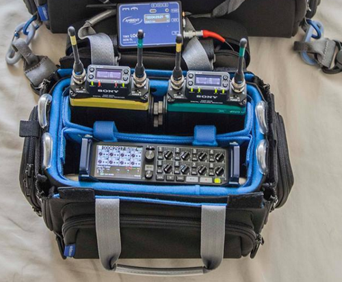 Orca OR-28 Mini Audio Bag: Shown with Gear (Note : The OR-28 does not include the wireless pouches mounting system or wireless devices shown)