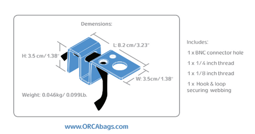Orca OR-150 Antenna Mount for all Orca Bags: Dimensions