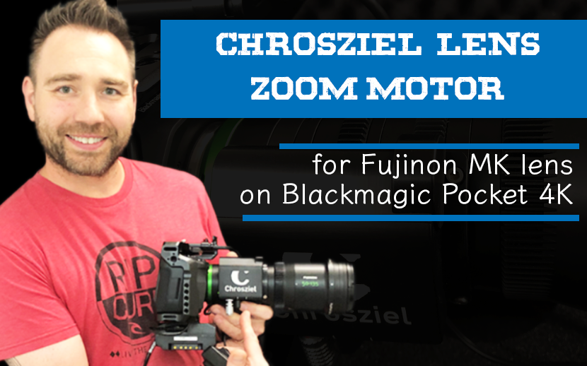 Chrosziel servo zoom motor for Fujinon MK lens on Blackmagic Pocket 4K camera