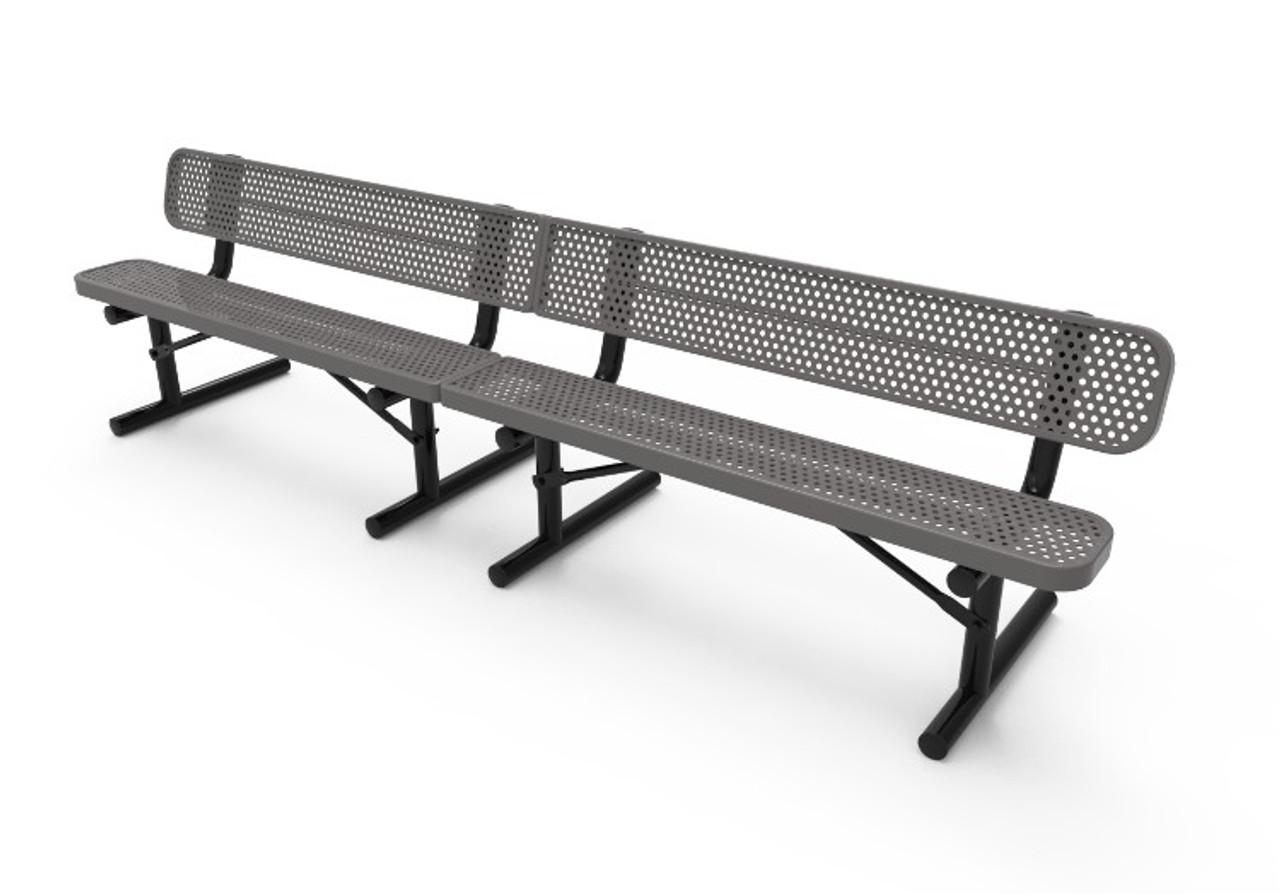 10' Perforated Steel Park Bench with Back _ Portable