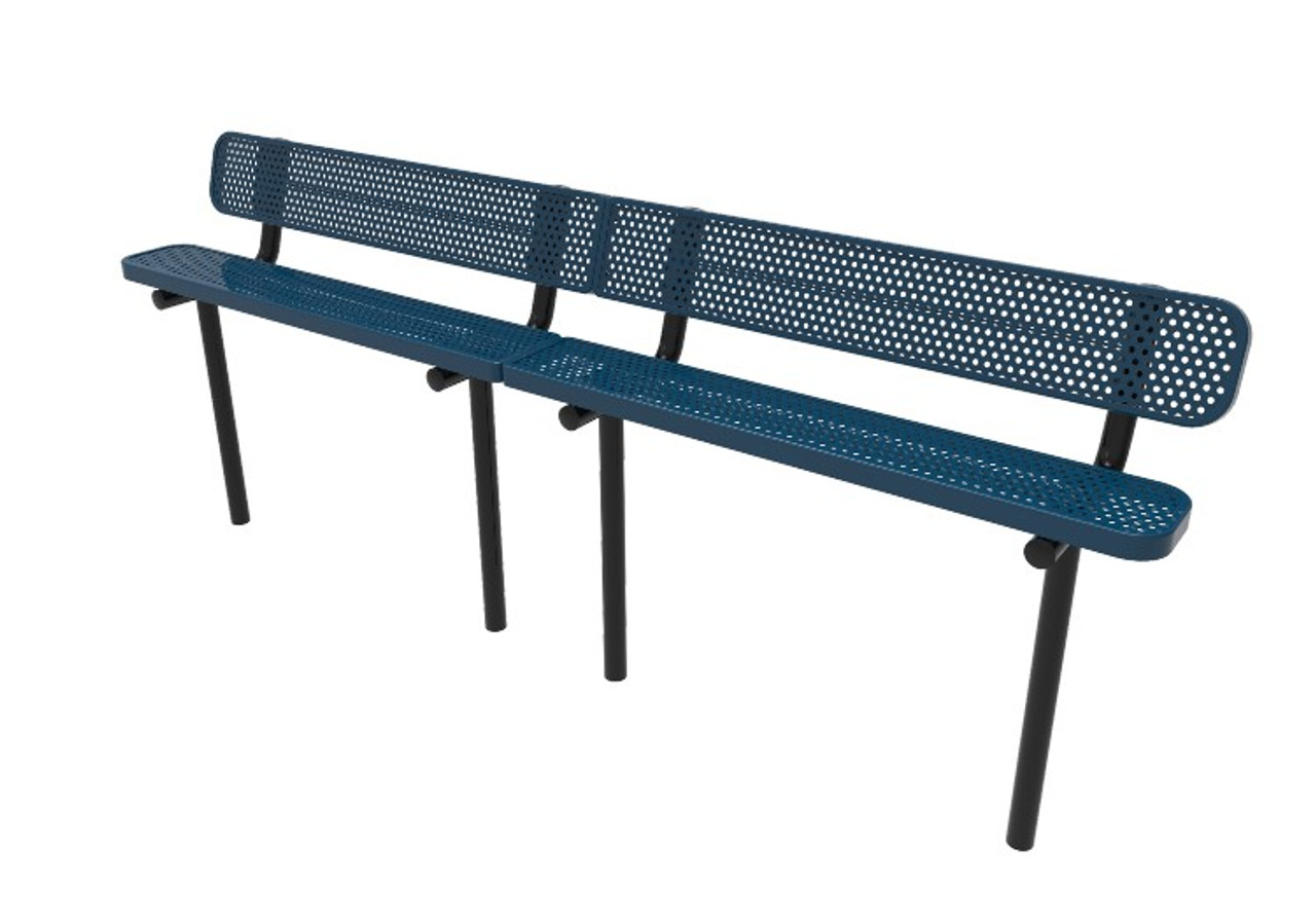 10' Perforated Steel Park Bench with Back _ Inground