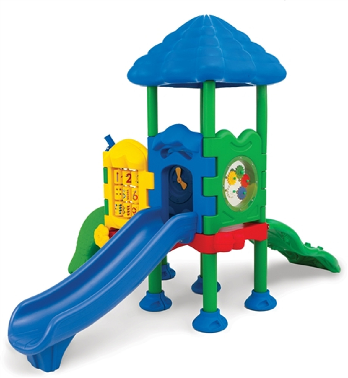 discovery center two children's outdoor playset with roof