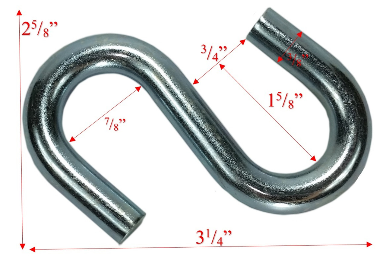 "3/8"" x 3"" Zinc Coated Standard End S-Hook Dims"