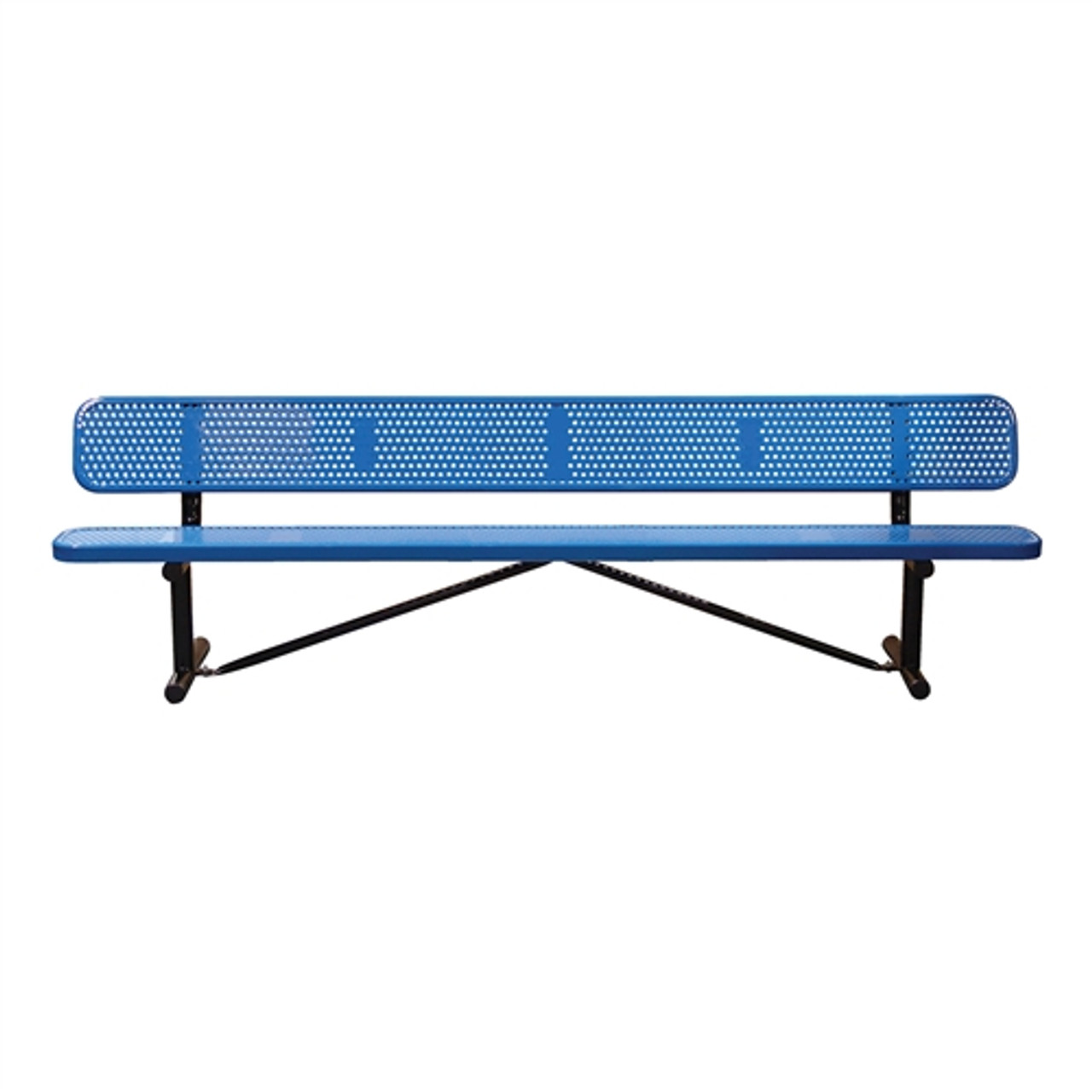 15' Perforated Steel Bench with Back