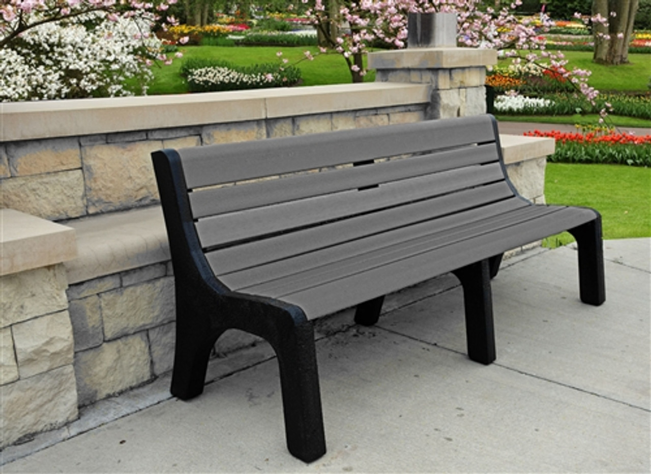 8' Newport Recycled Plastic Park Bench
