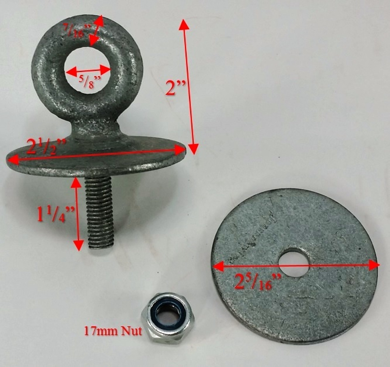 Tire Swing Eye Bolts Set of 3 Dims