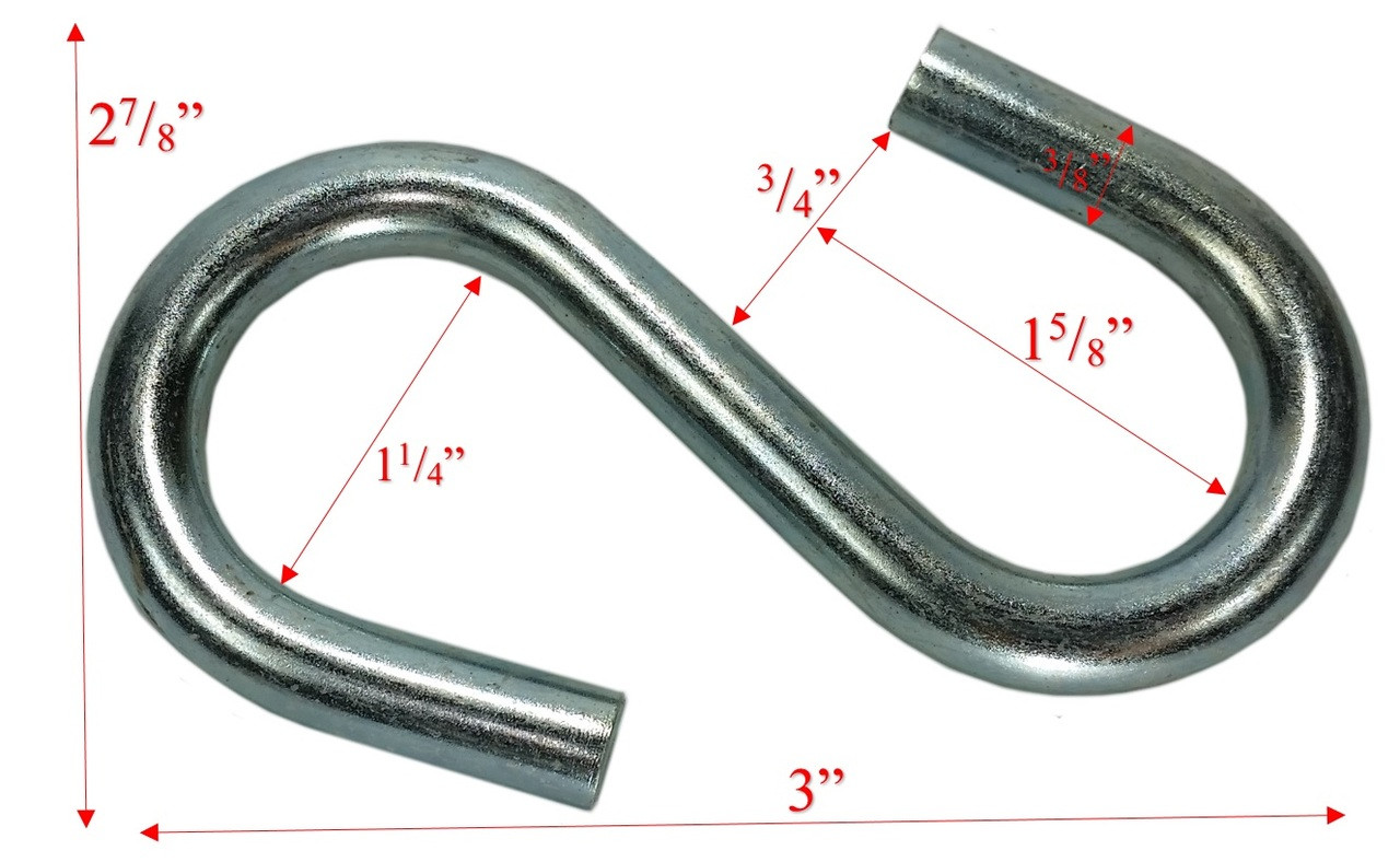 "3/8"" x 4""  Zinc Coated Large End S-Hook Dims"