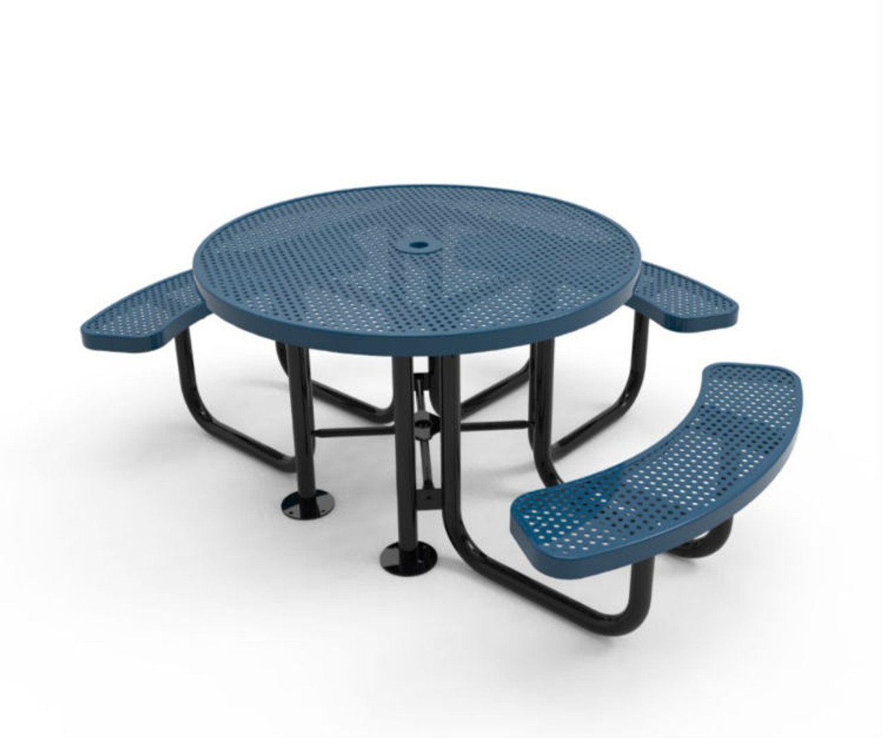 Punched Steel Round Table - 3 Bench Seats