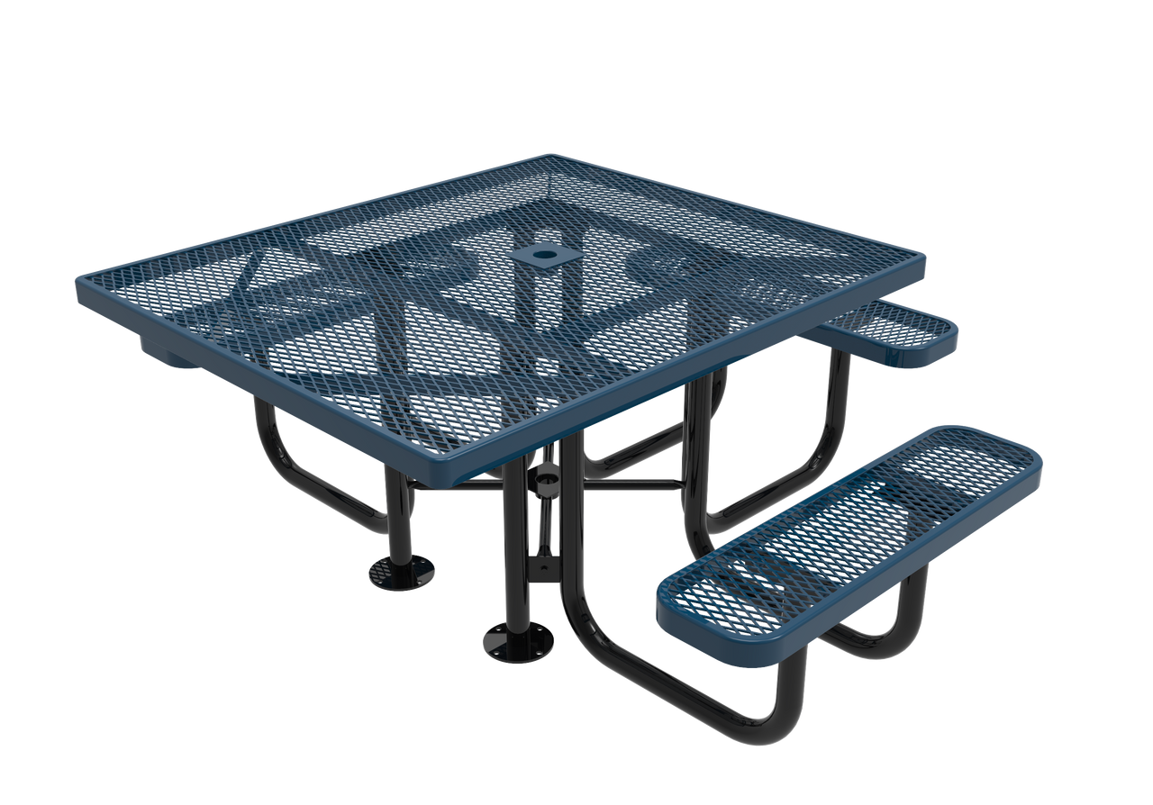 "46"" Square Expanded Metal 3 Seat ADA Picnic Table"