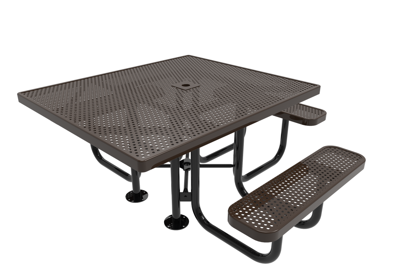 "46"" Square Punched Steel 3 seat ADA Picnic Table"