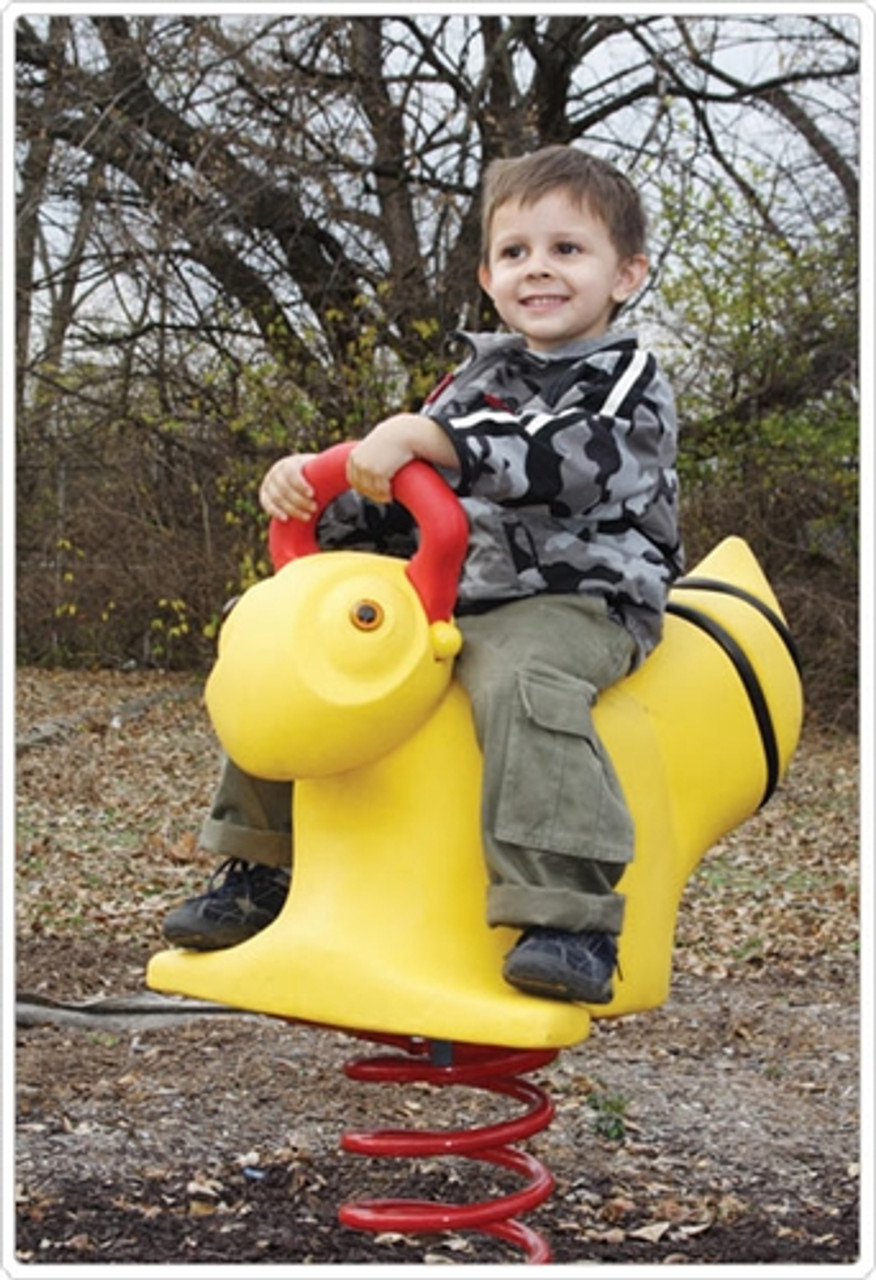child playing on a bumble bee spring rider