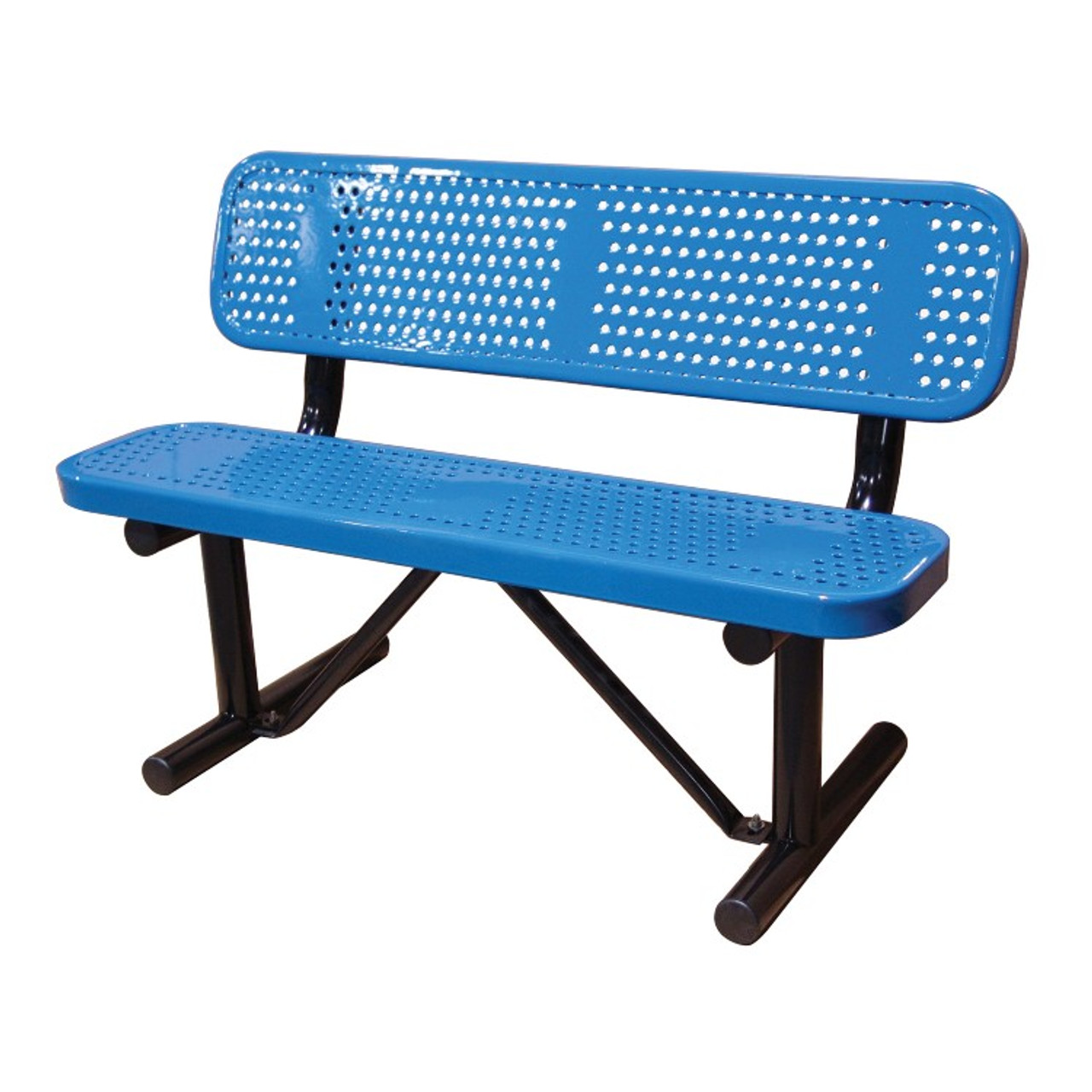 4' Punched Steel Bench with Back