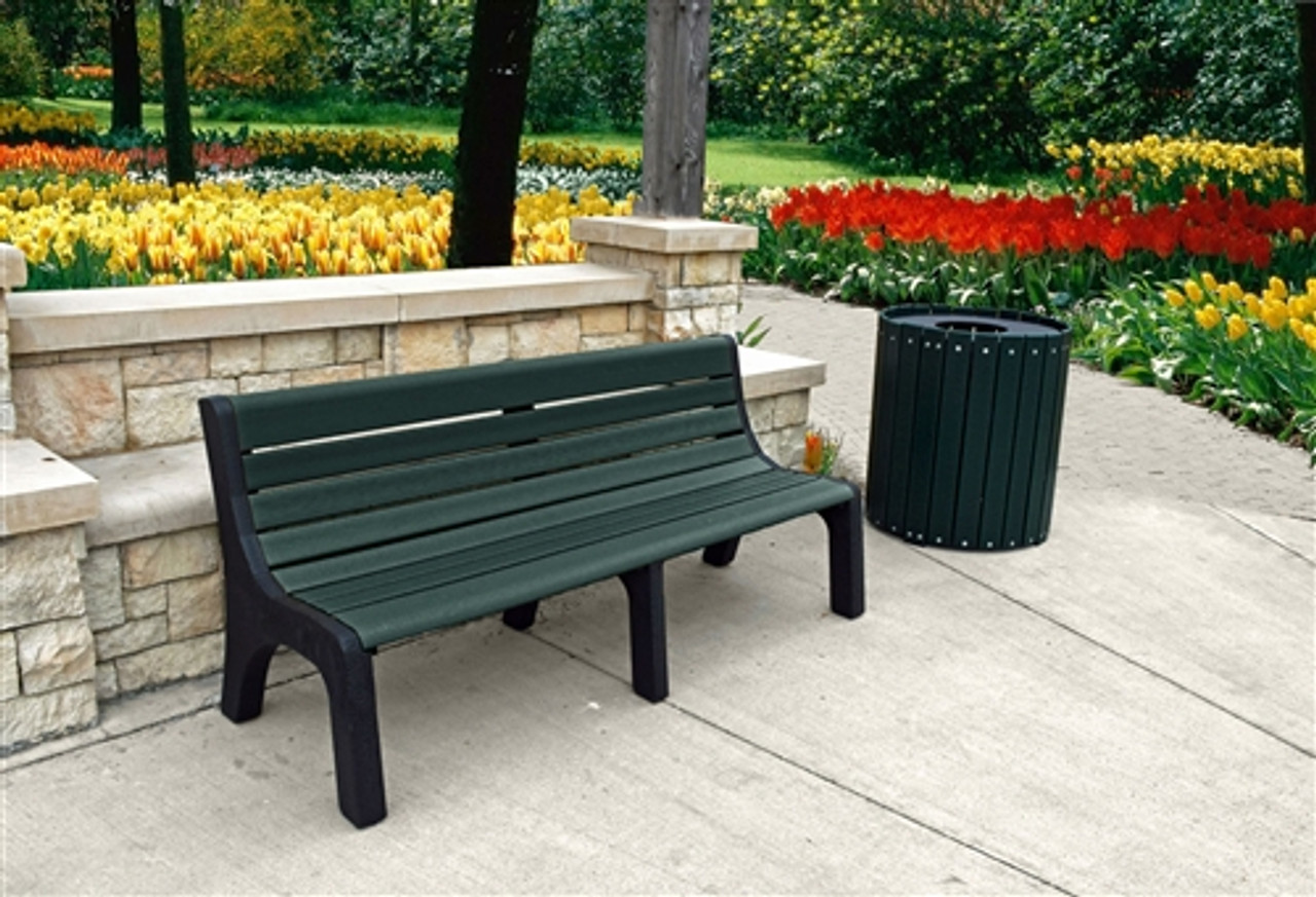6' Newport Recycled Plastic Park Bench