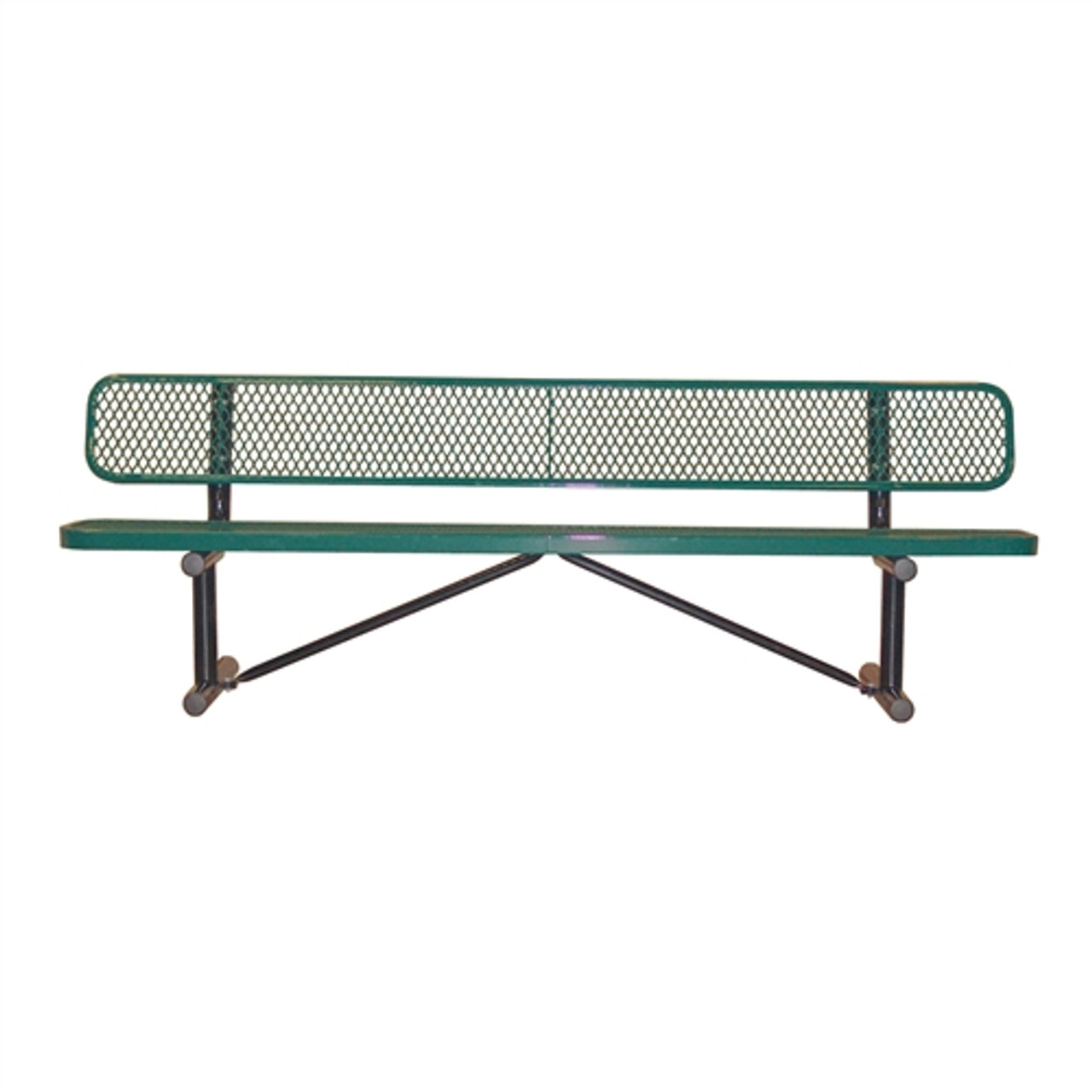 8' Expanded Metal Park Bench with Back