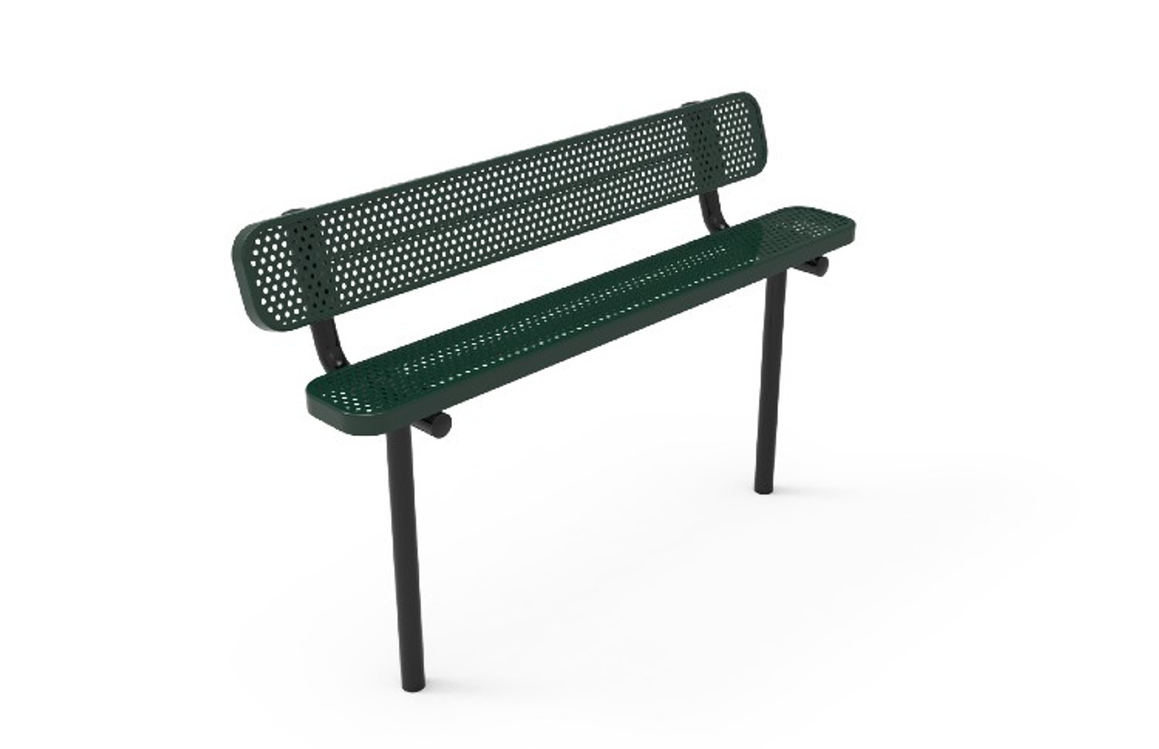 8' Expanded Metal Park Bench with Back - Inground Mount