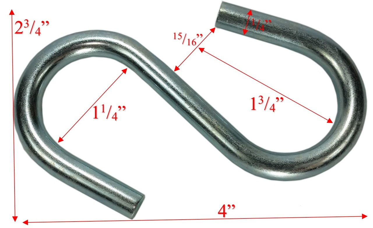 "5/16"" x 4"" Zinc Coated Large End S-Hook Dims"