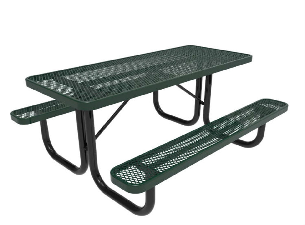 6' Rectangular Expanded Metal Picnic Table