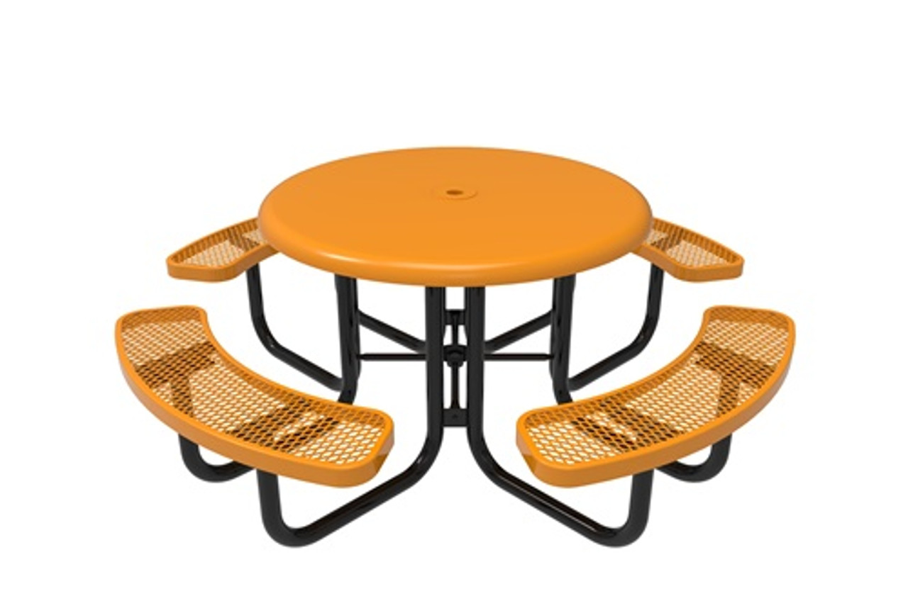 """46"""" Round Picnic Table   Solid Top   Expanded Metal Seat - Portable"""