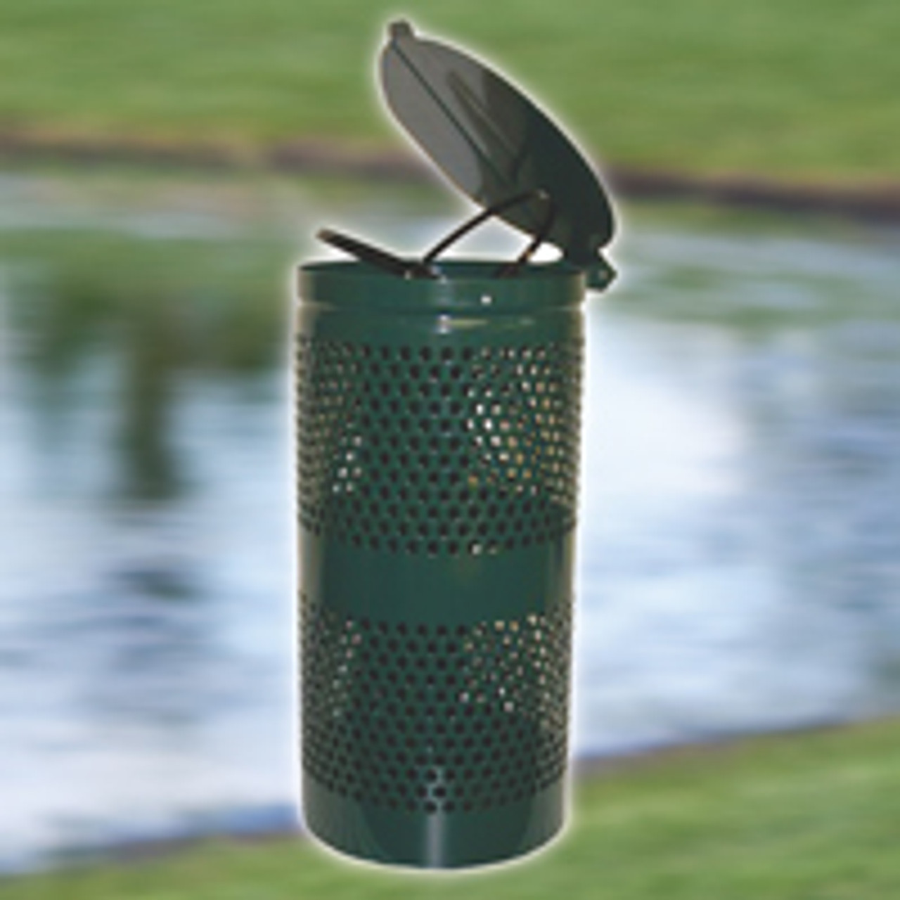 Dogipot steel waste receptacle in green