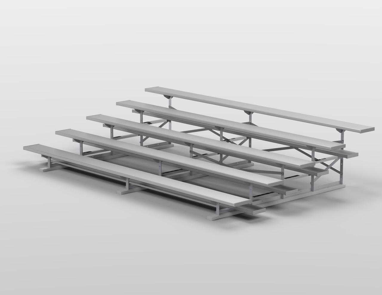 "5 Row Aluminum Bleacher | 27"" Length | 90 Seat"