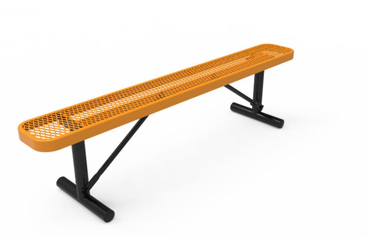 6' Expanded Metal Bench without Back _ Portable