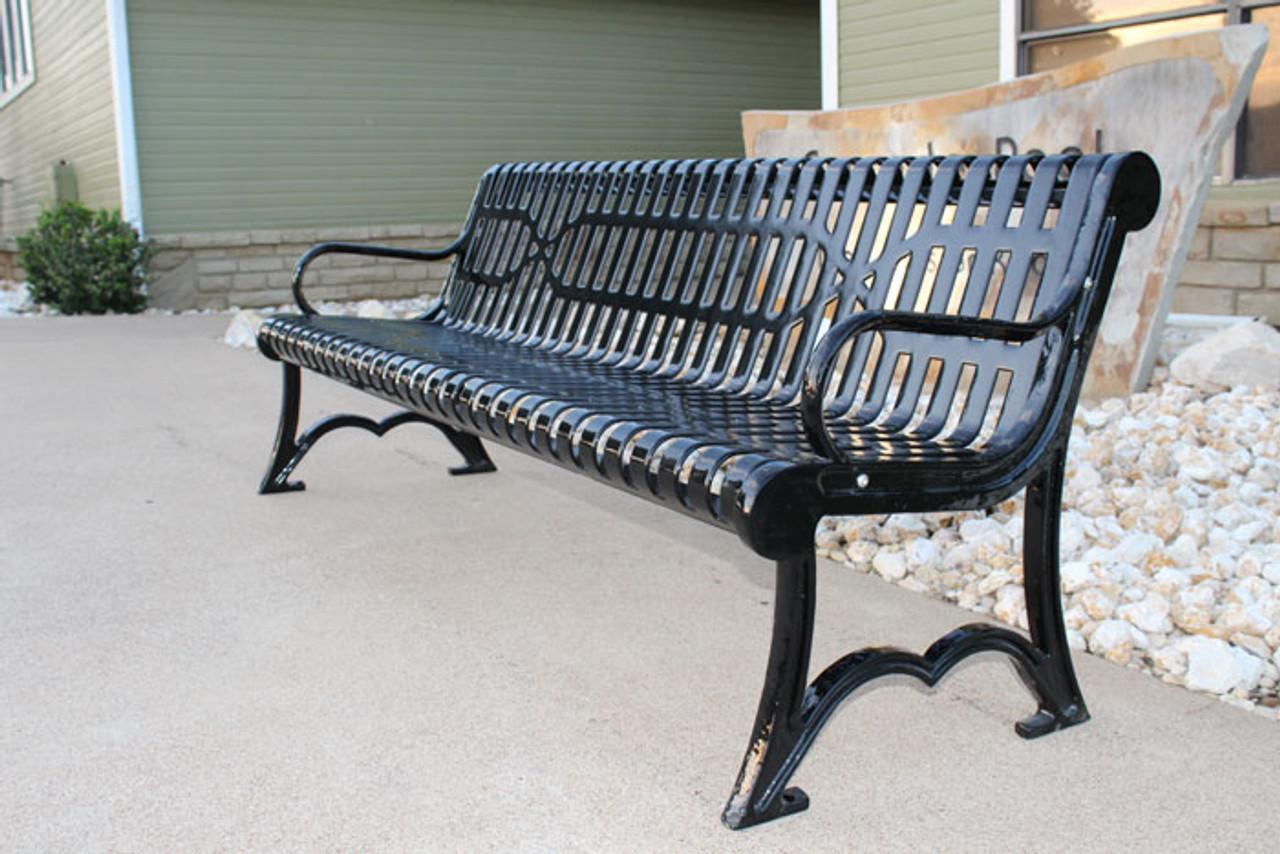 6' Slatted Steel Austin Park Bench
