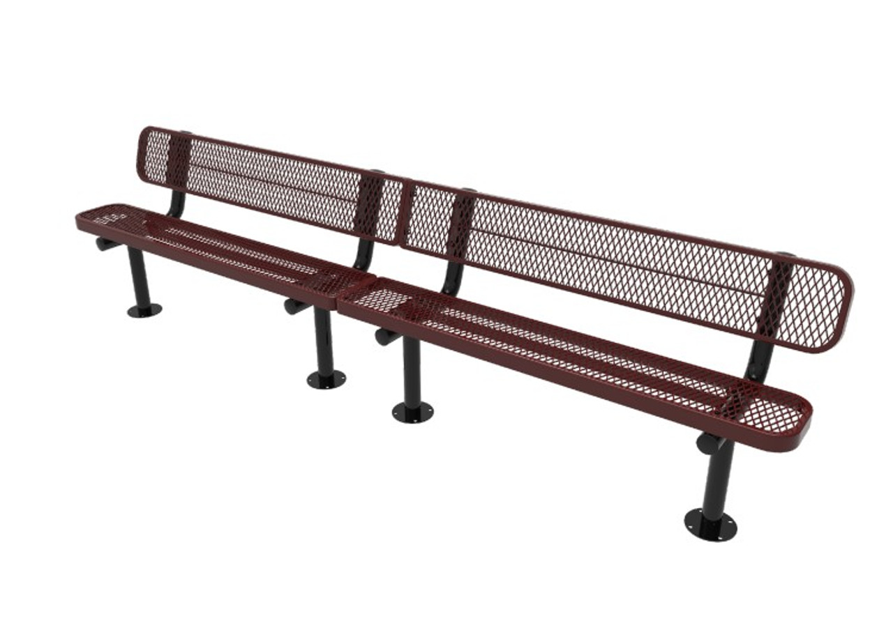 10' Expanded Metal Bench with back - Surface Mount