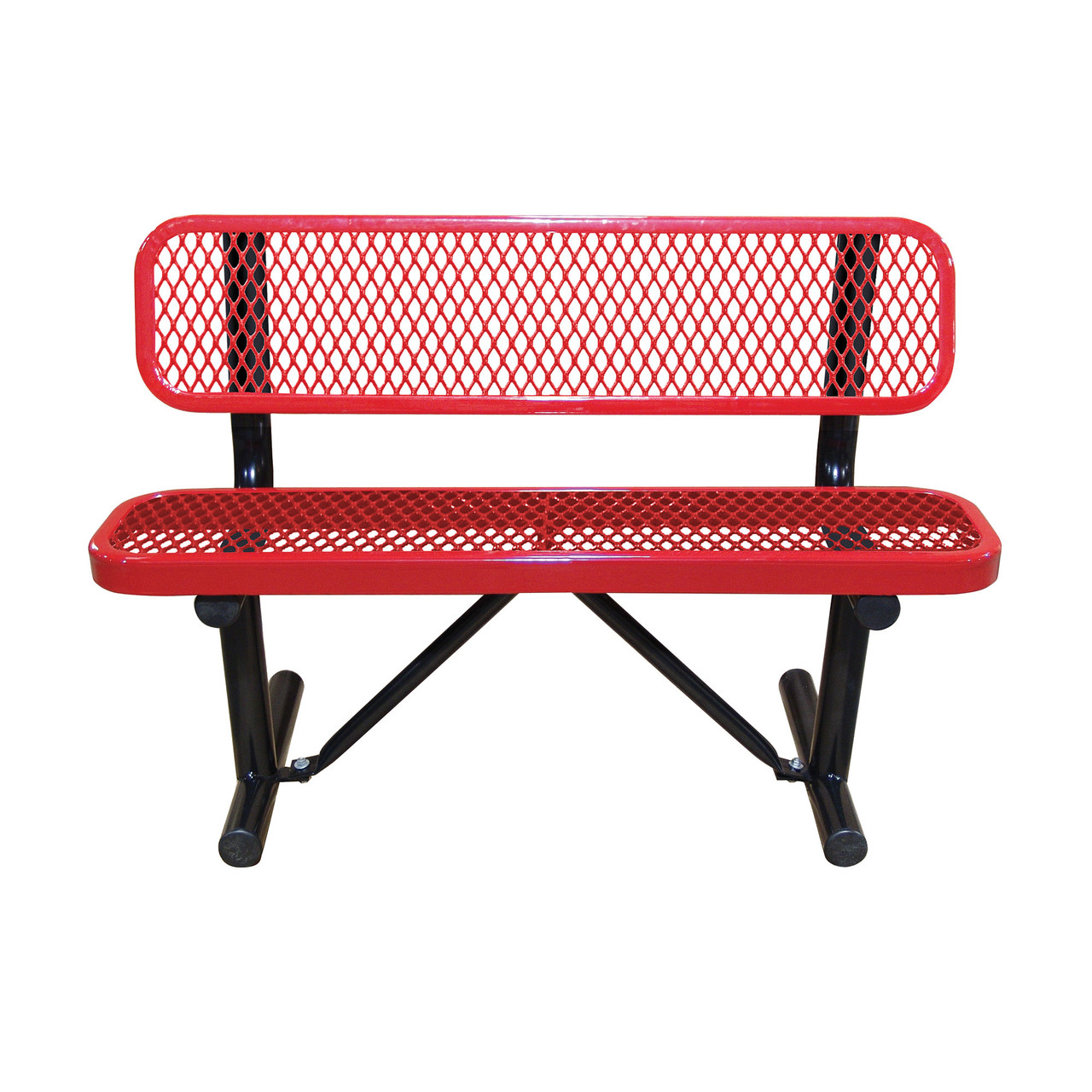 4' Expanded Metal Bench with Back
