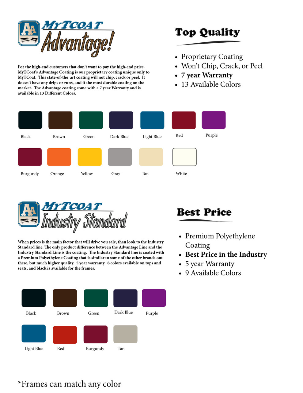 MyTCoat Bench Color Chart