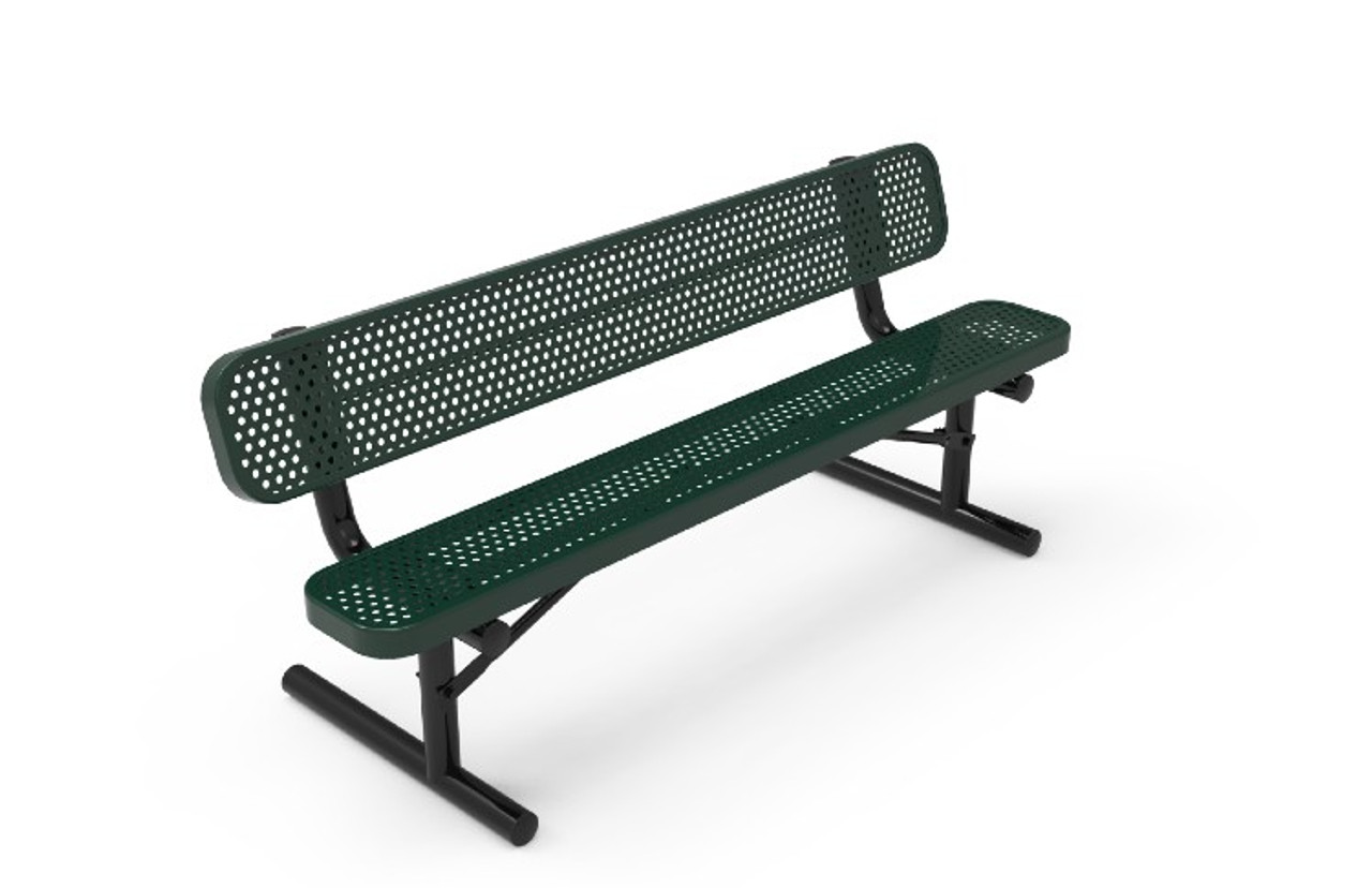 6' Portable Punched Steel Bench with Back