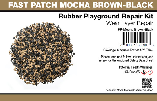 Fast Patch Mocha Brown - Black Poured-in-Place Surfacing Repair Kit Fix Rubber Playground
